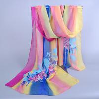women's printe pattern floral scarf/scarves chiffon silk floral autumn spring super hijab long shawls/scarf 10pcs/lot XQ075