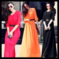 Plus size summer casual chiffon dress 2015 women maxi long dresses new fashion floor-length half-sleeve elegant slim vestidos