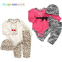 5pcs/lot newborn cartoon rompers. spring /autumn long sleeve infant clothing set ,hat + top + leopard pant . 3pcs clothing sets