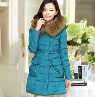 2014 new female large artificial fur collar slim medium-long down coat ,women winter outwear jacket ,outdoor coat,overcoat