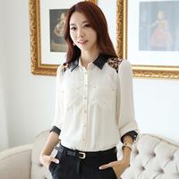 2014 Leopard Print Color Block Women's Long-Sleeve Shirt Chiffon PU Patchwork Women's Formal Shirts Blouses Tops