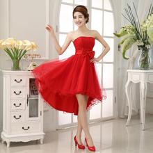 2014 New Dress Sleeveless Lace Bandage Bride Dress With Bow, HCFW bridesmaid dinner formal dress 2014(China (Mainland))