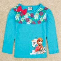 Frozen 100% Cotton children t shirts for Girls Cartoon Cute Pattern Print Children Clothing Baby & Kids Long Sleeve Tops