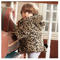 Freee Shipping Female baby clothes 6-12 months infant clothing small children 1-2 years old winter coat leopard thick coat G0003