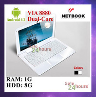 "Free shipping 9"" 9 inch Netbook Mini Laptop Android 4.2 VIA 8880 Dual Core HDMI WIFI 1G RAM 8G HDD Black/White"