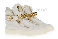 Unisex men women sneakers guiseppe brand GZ zanotty sports shoes golden metal chain white women's flats big size EU 35-48