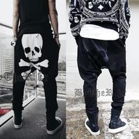 2014 New drop crotch harem pants, casual sport men trousers, hip hop skull printed back sweatpants baggy pants joggers outdoor