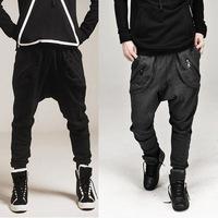 Hot fashion models NEW 2014 men drop crotch pants flying squirrel trousers pocket design sport outdoors baggy pants jogger M-XXL