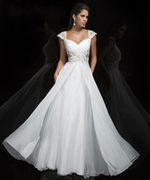 2014 Sweetheart Cap Sleeve Sexy Beading Appliques Prom Dresses Floor-Length A-Line With Long ChiffonEvening Party Dress