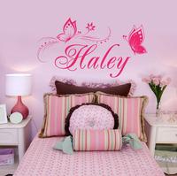 personalized butterflies butterfly flower name wall sticker headboard bedroom poster