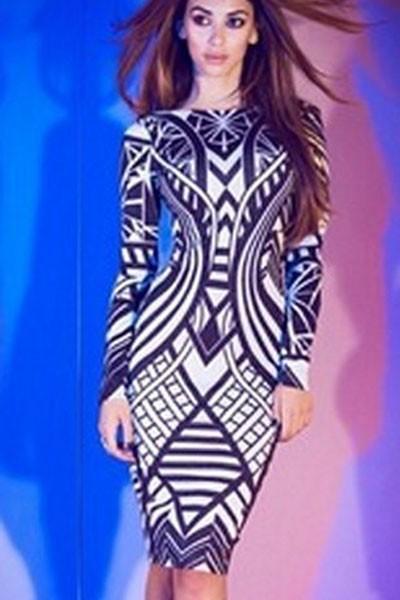 2015 New Women Celebrity Black Blue Aztec Tribal Print Long Sleeve Bandage Bodycon Dress Geometric Dress Autumn Spring Winter(China (Mainland))