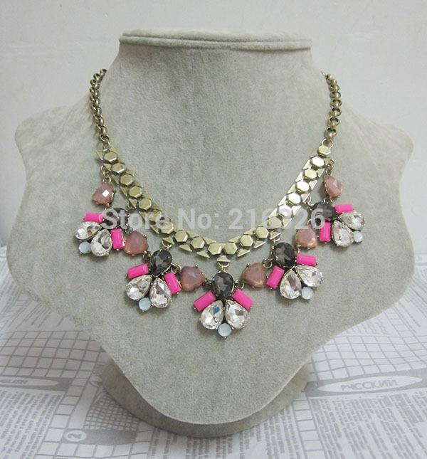 2014 fashion women luxurious vintage clear glass beads multi acrylic water drop statement wholesale chokers free necklace(China (Mainland))