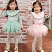 5pcs/lot spring /autumn baby girls dress, long sleeve lace cake dresses , green / pink children party dress.
