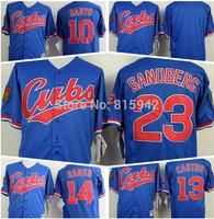 #23 Ryne Sandberg #13 Starlin Castro #10 Ron Santo Blue 125th anniversary 1994 Stitched Chicago Cubs Baseball Jerseys Cheap