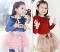 5pcs/lot autumn children princess dress, long sleeve kid girls dresses. lace collar ruffles girls clothing.