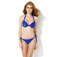 Colloyes 2014 New Sexy Royal Blue Add-2-Cups Halter Top Bikini Swimwear Set with Push-up Molded Cups in Low Price Free shippinhg