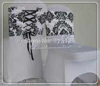 free shipping taffeta flocking chair hood for weddings