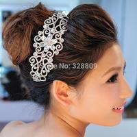 2014 New Luxurious white crystal wedding crown silver bridal tiaras wholesale