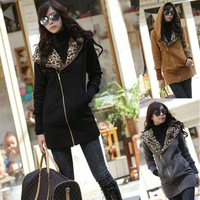 2014 New Women's Long Sleeve Leopard Jacket Coat Warm Sweater Outerwear Casual Zipper Hoodie Sweatshirt W3913