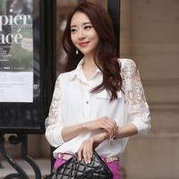 Free Shipping S-XXL Formal Office Wear For Women 2014 Korean Style Fashion Flower Lace Long Sleeve Chiffon Shirt Blouses Women
