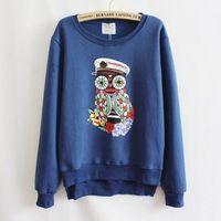 2014 New Women Autumn Fashion Owl Printing Zippers Sweater Sweatshirt Crewneck Hoodies Sport Pullovers Long Sleeve Tracksuits