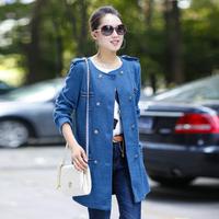 Plus size clothing outerwear all-match medium-long women's overcoat long-sleeve epaulette cardigan female