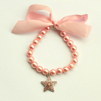 dreambows Handmade Dogs Cats Ribbon Bow Pink Pentagram Charms Rhinestone Pendant Necklace 51014 Free Shipping