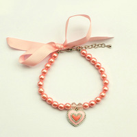 dreambows Handmade Dogs Cats Pink Ribbon Bow Rhinestone Heart Charms Pendant Necklace #dn1015 Pet Boutique Wholesale