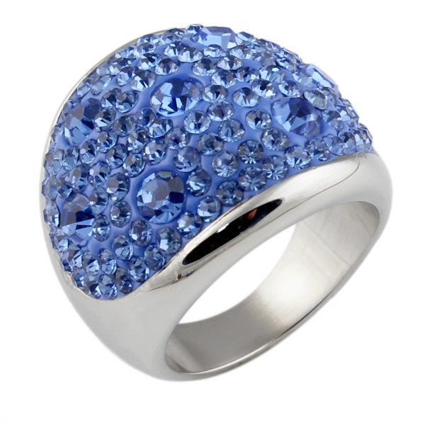 full cristal anneaux pour les femmes anneau en acier inoxydable de la mode cadeau bijoux 6 couleur