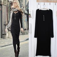 2014 Fashion all-match slim long design Long sleeve black one-piece dress SZC-1263