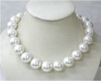 """Huge !! AAAA+ 20mm 18"""" Natural Gorgeous white shell pearl necklace Free Shipping"""