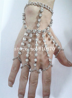 New Fashion Women Shiny Rhinestone Bracelet Bangle Slave Chain Link Finger Hand Harness Body Chain
