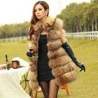 Fur vest outerwear 2012 raccoon fur female long design winter vest fur coat