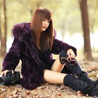 Fur coat 2013 rex rabbit hair hooded slim long design romantic women's