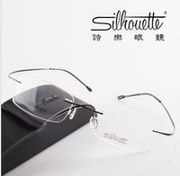Retail 1pcs High quality Customized brand Rimless reading glasses/ memory titanium reading glasses go with original case