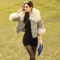 2012 wool fur collar wool coat medium-long overcoat fur