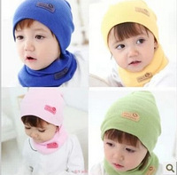 2014 new multi-color cute Winter Baby Cap Girls/Boys Children Knitted Hat and Scarf Set