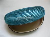 45 colors available Free shipping(5pcs/lot) Wholesale Fashion lake blue rhinestone eyeglasses case for sunglasses