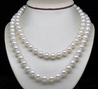 AAA 10-11 mm genuine Akoya white pearl necklace 35 inch 14k Gold Clasp