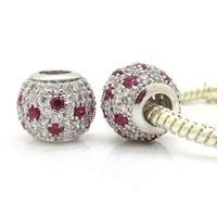 2 Pieces/lot , 2014 New Arrival Silver Micro Pave Zircon Beads,European Beads Fits pandora Charm Bracelets necklaces & pendants
