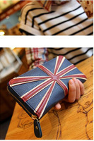 2014 new long section PU leather Purses British flag  Retro zipper wallet  casual fashion women  purse WAS-025