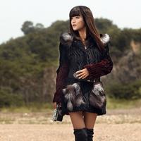 Overcoat hooded rabbit hair medium-long slim 2013 fur coat autumn and winter women