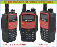 Color Red baofeng BF-530I 136-174MHz & 400-520MHz Dual Band 5W/1W 128CH FM 65-108MHz with Free Earphone Portable Two-way Radio