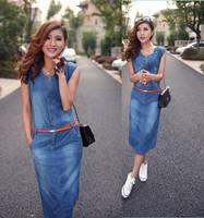 2014 Summer New Arrival Casual Slim Medium Long Denim Dress Plus Size Full Denim Dress Free Shipping