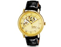 Unisex Stunning Semi-circle Design Automatic Mechanical Waterproof Wrist Watch with Roman Numerals & Faux Leather Band (Golden)