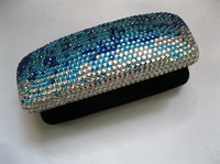 45 colors available Free shipping(12pcs/lot) Wholesale Fashion gradient blue crystal glasses case for reading