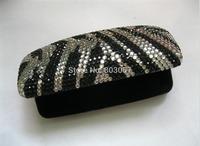 45 colors available Free shipping(12pcs/lot) Wholesale Fashion zebra diamond glasses case for reading