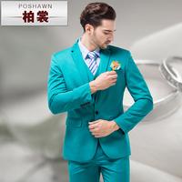 Jacket + pants + vest 2014 fashion sky blue Men suit set slim blue men 's formal dress men' s clothing
