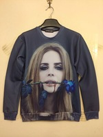 New Fashion Harajuku 1991inc hoodies female Draw Famous Faces Lana Del Rey Hold Rose 3D Sweaters Women Sweatshirts