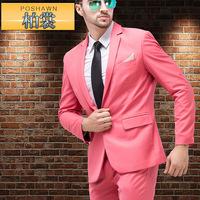 HOT!(Jackets+Pants) 2014 New Men Suits Slim Custom Fit Tuxedo Brand Fashion Bridegroon Business Dress Wedding Pink Suits Blazer